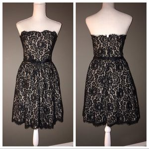 Neiman Marcus strapless black lace dress sz 10